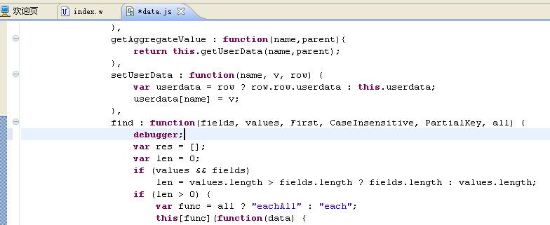 在data.js文件中加debugger